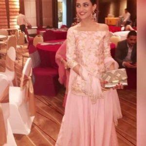 1c2660333c22 Naina Tara Dresses - Baby pink off shoulder sharara suit set